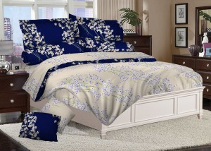 Sprei Katun Satin Cream Navy